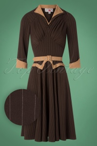 Miss Candyfloss TopVintage Exclusive Brown Pinstripe Swing Dress 102 79 26322 20180815 0001W1