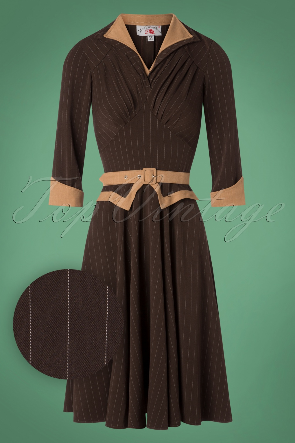 1950s Housewife Dress | 50s Day Dresses TopVintage exclusive  50s Judith Pinstripe Swing Dress in Brown £98.49 AT vintagedancer.com
