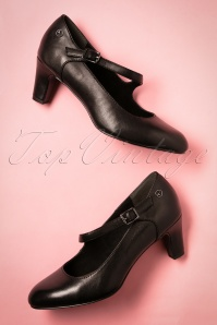 40s Kathleen Leather Pumps in Black