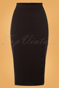Miss Candyfloss Black Button Pencil Skirt 120 10 26296 20180815 0001W
