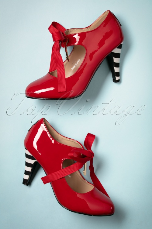 50s Alice High Heel Patent Pumps in Red