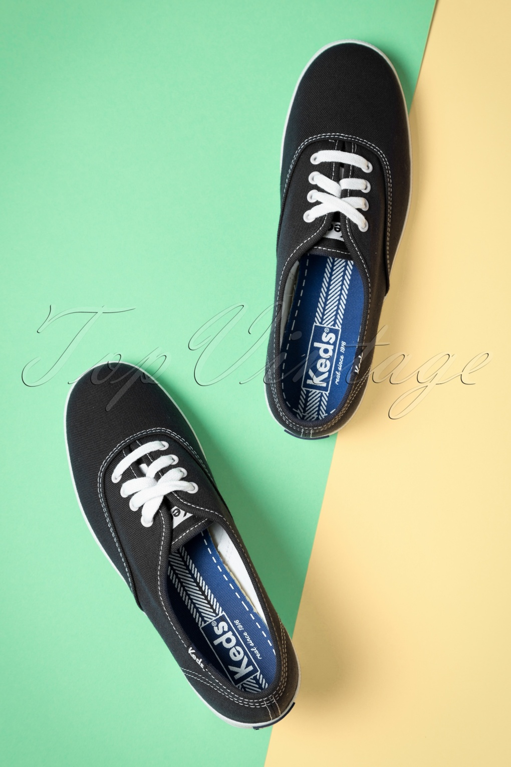 Retro Vintage Flats and Low Heel Shoes 50s Champion Core Text Sneakers in Black £52.49 AT vintagedancer.com