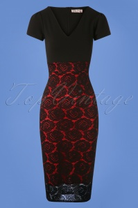 50s Kimberly Lace Pencil Dress in Black and Red