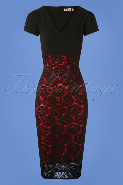 d27dc69d60 Vintage Chic Rose Lace Dress in Black and Red 100 10 26351 20180814 0003W