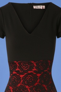 Vintage Chic Rose Lace Dress in Black and Red 100 10 26351 20180814 0003V