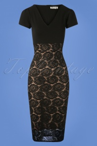 50s Kimberly Lace Pencil Dress in Black and Nude
