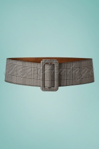 50s Charlotte Tartan Belt in Black and White