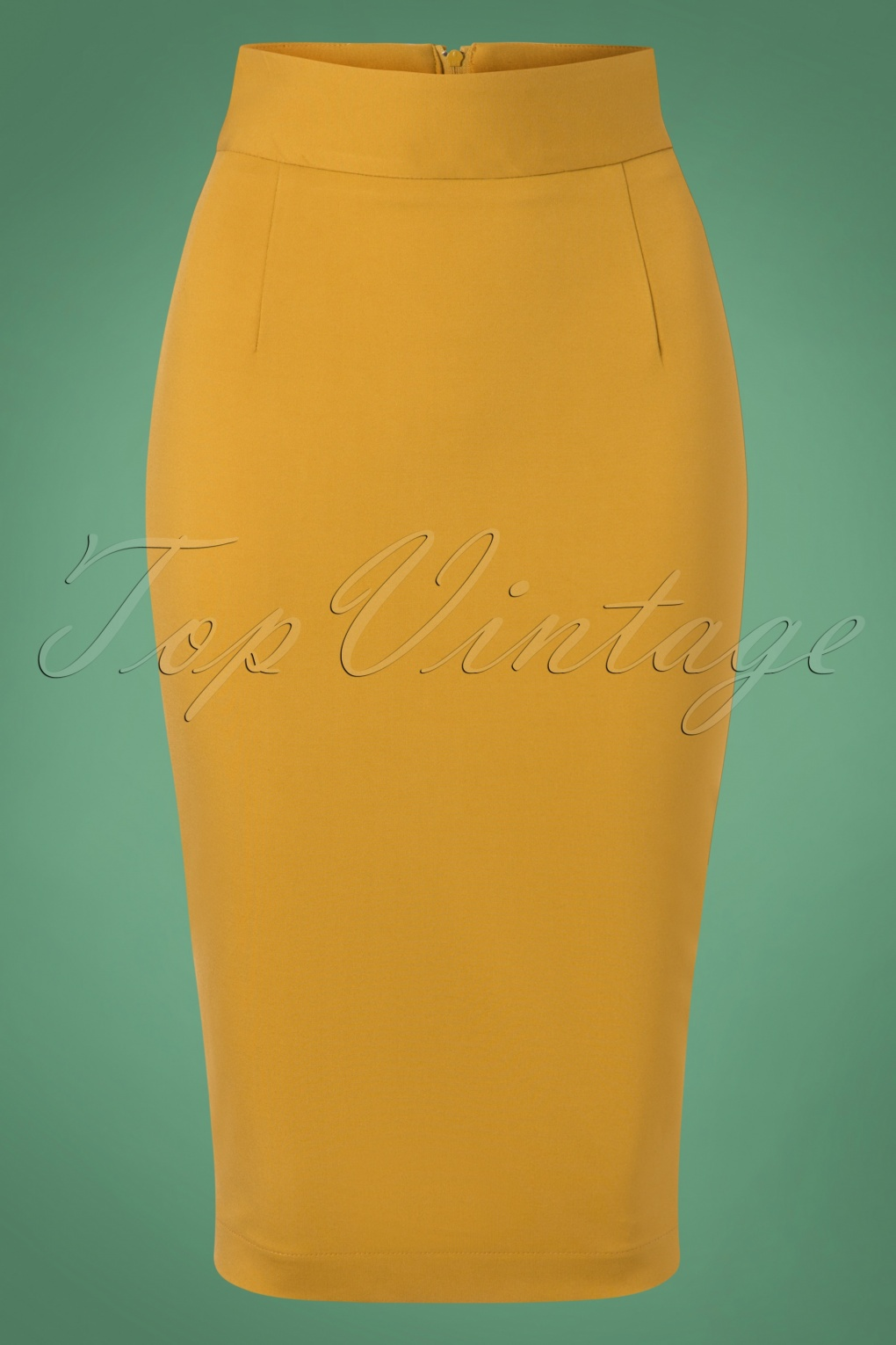 Retro Skirts: Vintage, Pencil, Circle, & Plus Sizes 50s Classic Pencil Skirt in Mustard Yellow £63.00 AT vintagedancer.com