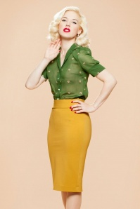 Very Cherry Pencil Skirt in Mustard 120 80 25673 20180815 01