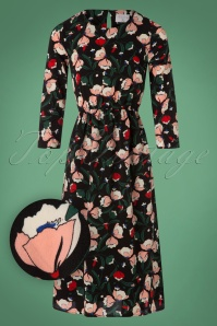 70s Sevilla Floral Midi Dress in Black