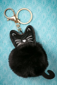 50s Cassy Cat Pom Keyring in Black