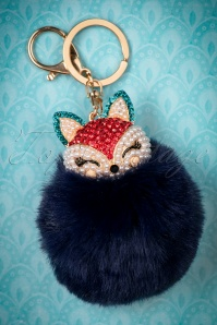 50s Adele Fox Pom Keyring in Navy