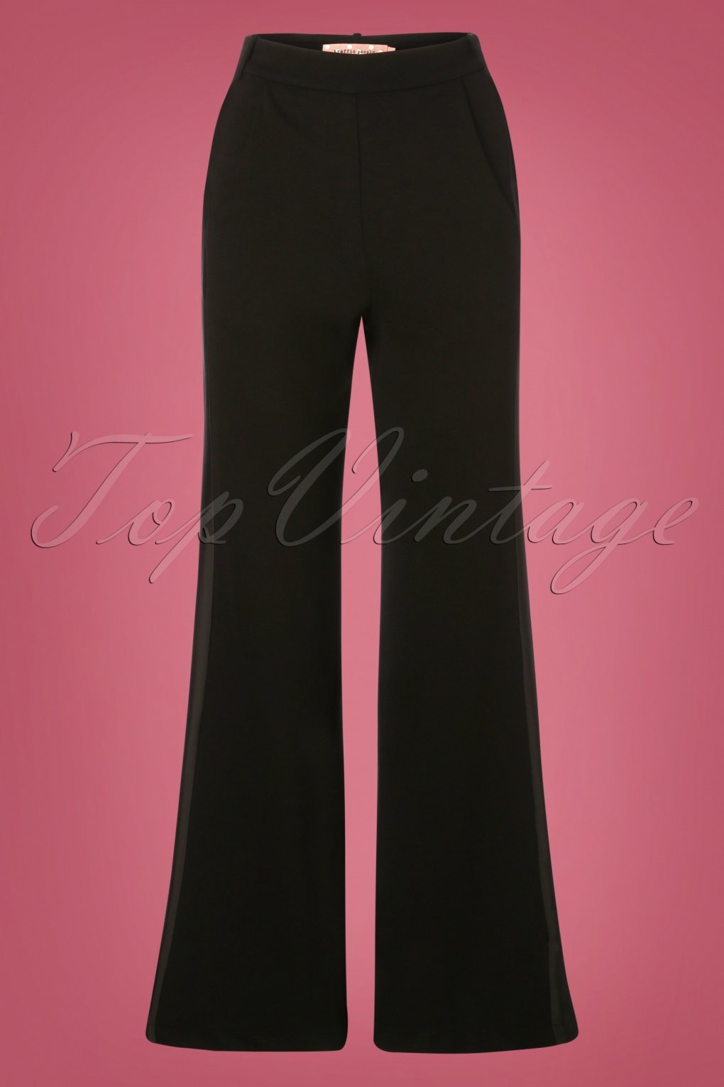 60s – 70s Pants, Jeans, Hippie, Bell Bottoms, Jumpsuits 60s The Getaway Edge Flare Trousers in Black £96.40 AT vintagedancer.com