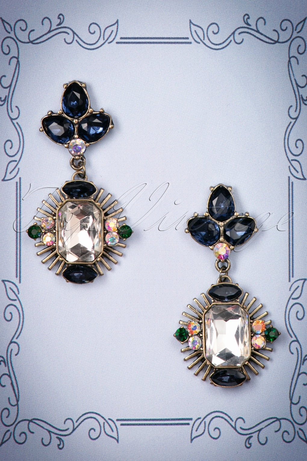 1920s Jewelry Styles History 20s Stephanie Blue Stone Aztec Earrings in Gold £13.09 AT vintagedancer.com