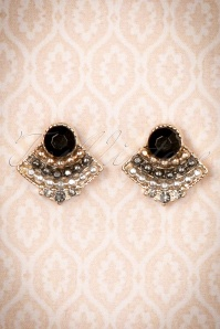 Louche 20s Darina Small Art Deco Stud Earrings in Gold