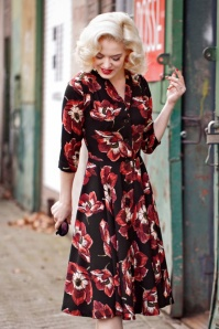 50s D'Laine Gioia Flowers Dress in Black