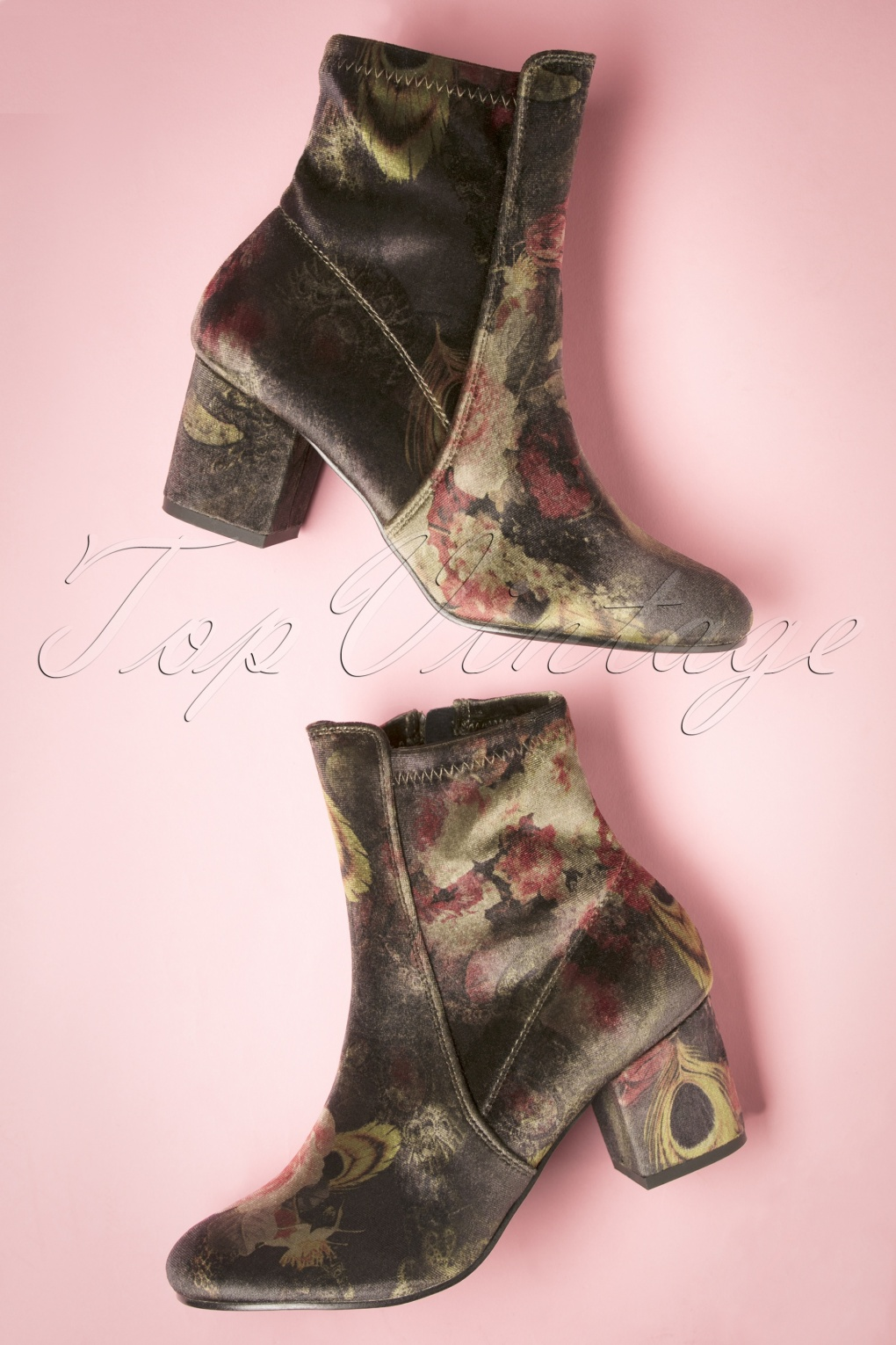 Retro Boots, Granny Boots, 70s Boots 60s Dita Floral Ankle Booties in Green £52.34 AT vintagedancer.com