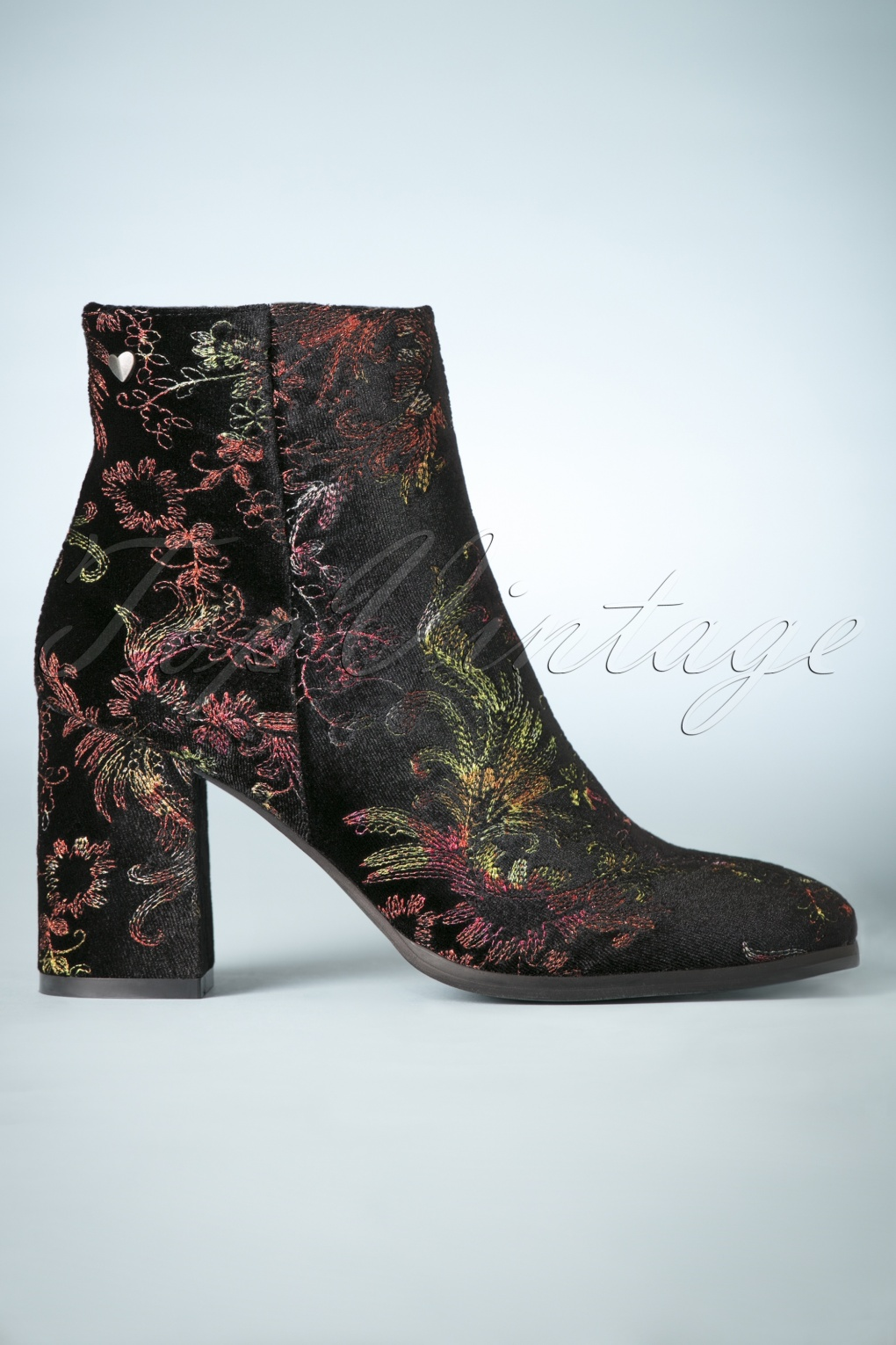 Retro Boots, Granny Boots, 70s Boots 70s Floral Explosion Velvet Ankle Booties in Black £44.36 AT vintagedancer.com