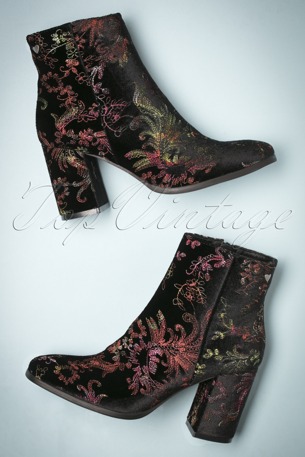 Retro Boots, Granny Boots, 70s Boots 70s Floral Explosion Velvet Ankle Booties in Black £43.74 AT vintagedancer.com
