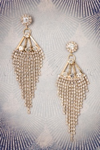 20s Crystal Cascade Chandelier Earrings in Gold