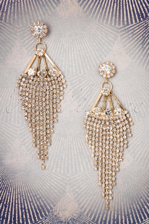 1920s Gatsby Jewelry- Flapper Earrings, Necklaces, Bracelets 20s Crystal Cascade Chandelier Earrings in Gold £21.92 AT vintagedancer.com