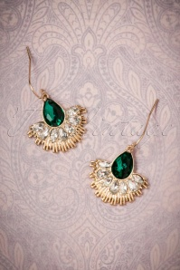 20s Crystal Fan Drop Earrings in Gold and Green