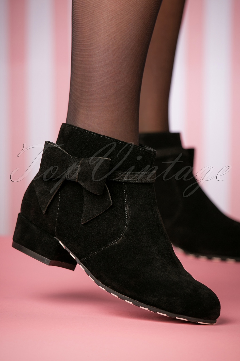 1950s Style Shoes | Heels, Flats, Saddle Shoes 60s Alice Ankle Booties in Black £155.71 AT vintagedancer.com