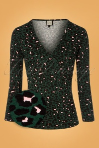 60s Cross it Top in Leopard Green