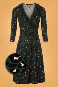 Mademoiselle Yeye Wrap Leopard Dress in Green 106 49 25532 20180817 0001wv