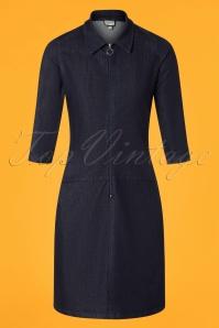 Zip It Denim Dress Années 60 en Bleu Foncé