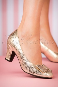 50s Ava Topaz Pumps Gold