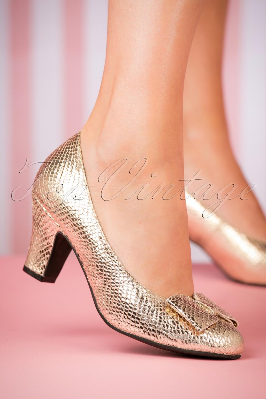 1950s Style Shoes | Heels, Flats, Saddle Shoes 50s Ava Topaz Pumps Gold £111.86 AT vintagedancer.com