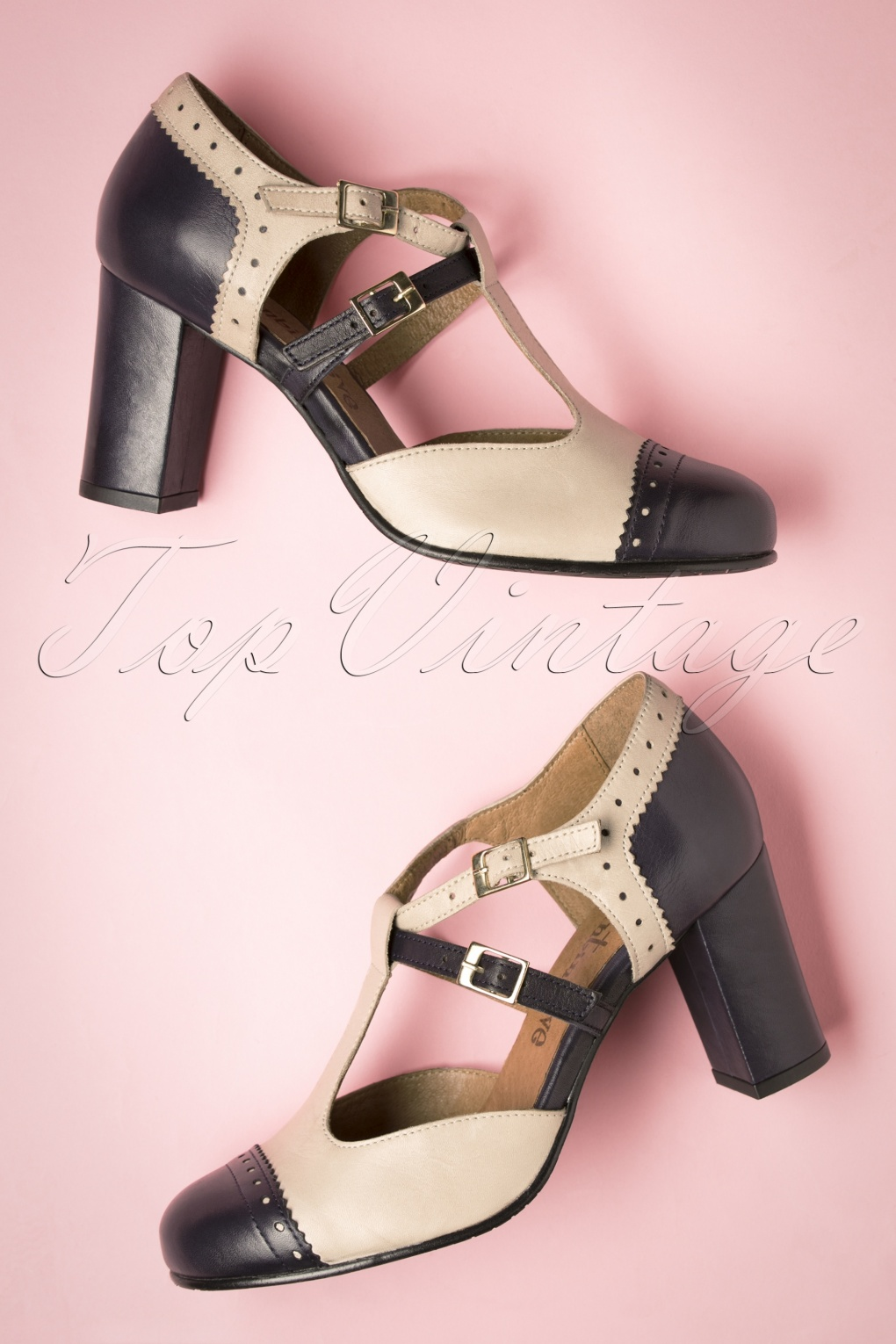 Vintage Style Shoes, Vintage Inspired Shoes 60s Elena Leather T-Strap Pumps in Beige and Blue £134.98 AT vintagedancer.com