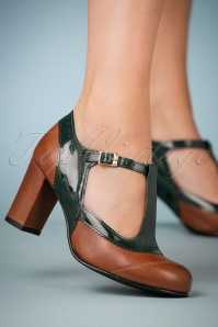 60s Ada Leather T-Strap Pumps in Green and Brown