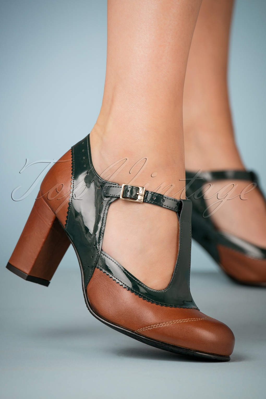 60s Shoes, Boots | 70s Shoes, Platforms, Boots 60s Ada Leather T-Strap Pumps in Green and Brown £132.85 AT vintagedancer.com