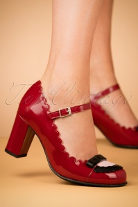 60s Penelope Mary Jane Patent Pumps in Red