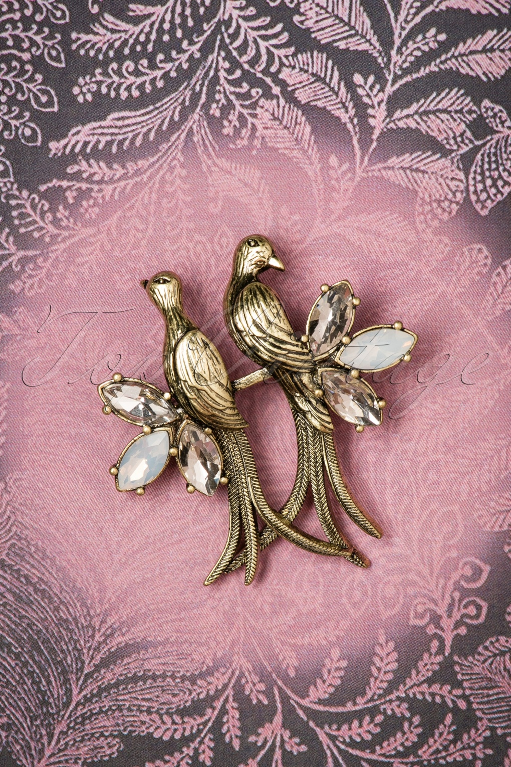 1930s Jewelry | Art Deco Style Jewelry 30s Crystal Love Birds Brooch in Gold £26.32 AT vintagedancer.com