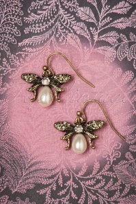 30s Bumble Bee Pearl Drop Earrings in Gold