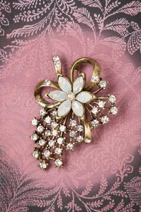 30s Miriam Haskell Pearl Brooch in Gold