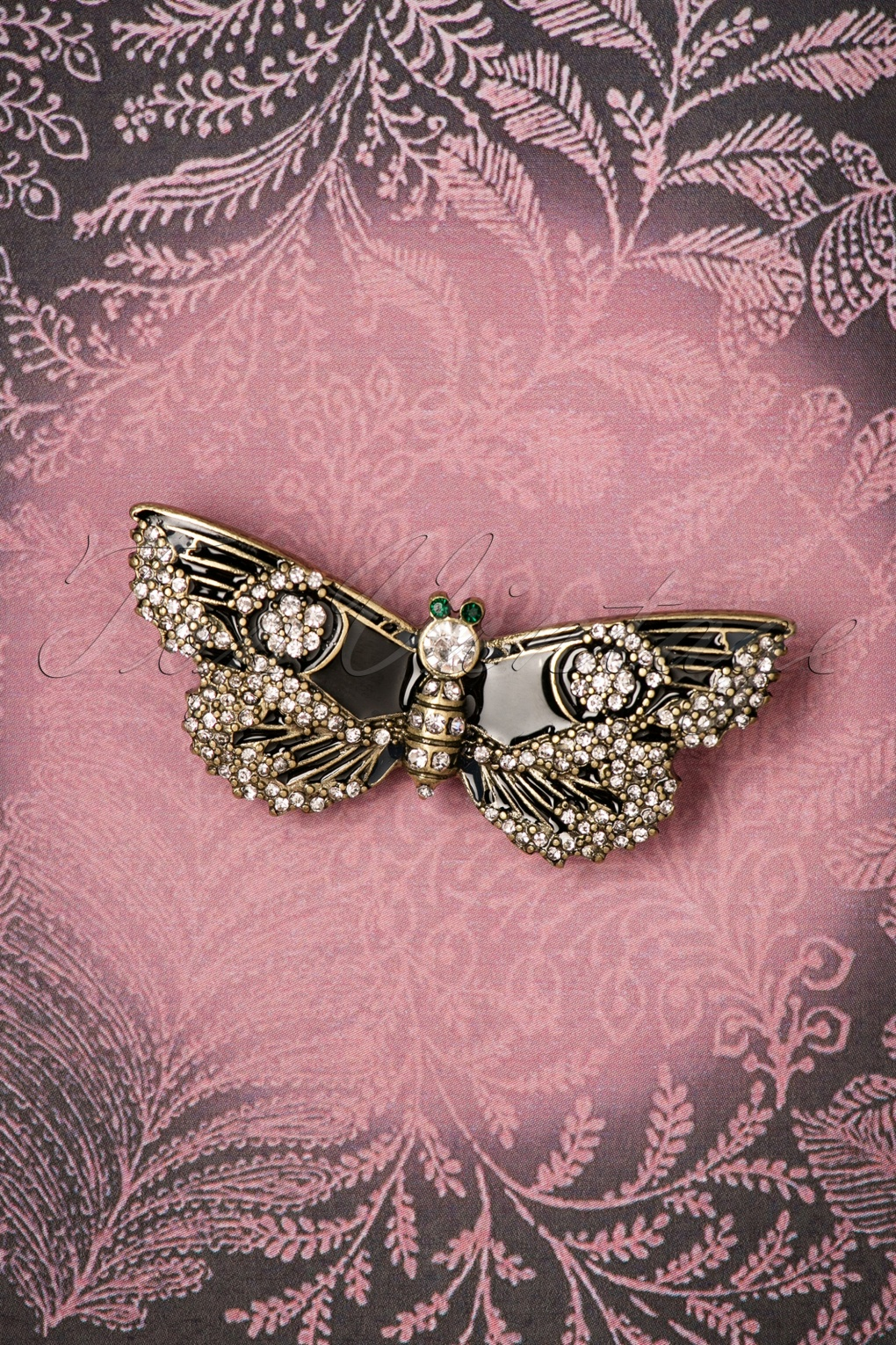1930s Jewelry | Art Deco Style Jewelry 30s Jet Butterfly Brooch in Black and Gold £19.70 AT vintagedancer.com