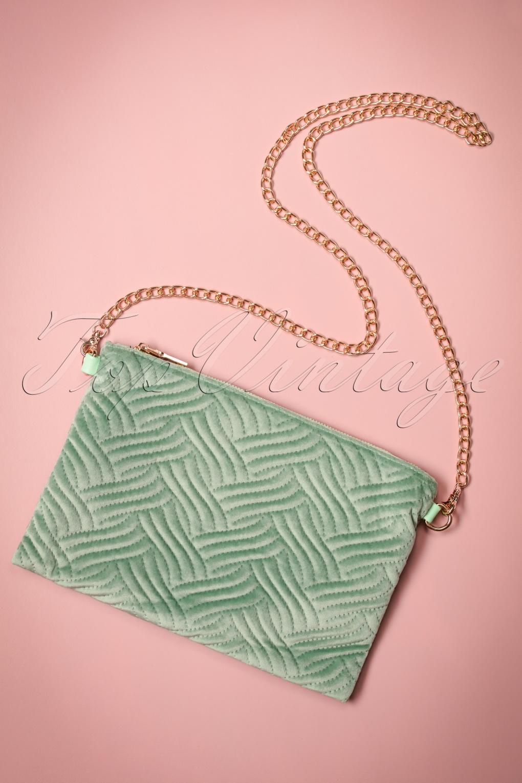 Vintage & Retro Handbags, Purses, Wallets, Bags 20s National Velvet Clutch in Green £53.40 AT vintagedancer.com