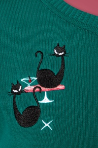 Collectif Clothing 50s Lucy Atomic Cats Cardigan in Teal 140 30 24787 20180626 0002