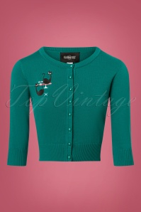 Collectif Clothing 50s Lucy Atomic Cats Cardigan in Teal 140 30 24787 20180626 0001w