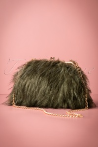 20s National Faux Fur Bag in Green