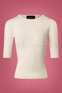 Collectif Clothing 50s Chrissie Top in Ivory 113 50 24785 20180629 0005W