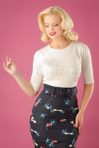Collectif Clothing 50s Chrissie Top in Ivory 113 50 24785 20180629 1W