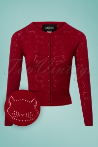 Collectif Clothing 50s Leah Cats Cardigan in Red 140 20 24786 20180626 0003W1