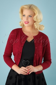 Collectif Clothing 50s Leah Cats Cardigan in Red 140 20 24786 20180626 1W