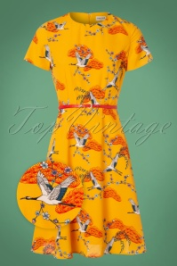 Sugarhill Boutique Ohara Birds Dress in Yellow 102 89 25569 20180821 0001wv