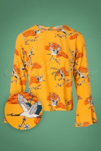 Sugarhill Boutique Eliana Birds Top in Yellow 112 89 25571 20180821 0002W1